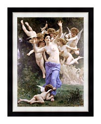 William Bouguereau The Wasps Nest canvas with modern black frame