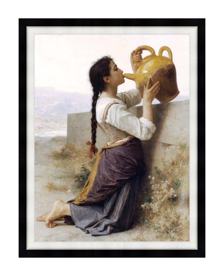 William Bouguereau Thirst with Modern Black Frame