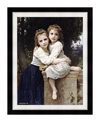 William Bouguereau Two Sisters canvas with modern black frame