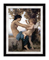 William Bouguereau Young Girl Defending Herself Against Love canvas with modern black frame