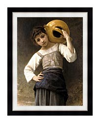 William Bouguereau Young Girl Going To The Fountain canvas with modern black frame