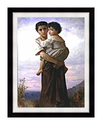 William Bouguereau Young Gypsies canvas with modern black frame