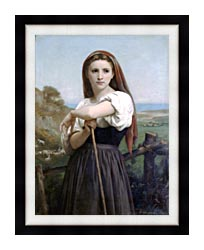 William Bouguereau Young Shepherdess canvas with modern black frame