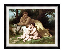 William Bouguereau Young Woman And Children Embracing canvas with modern black frame