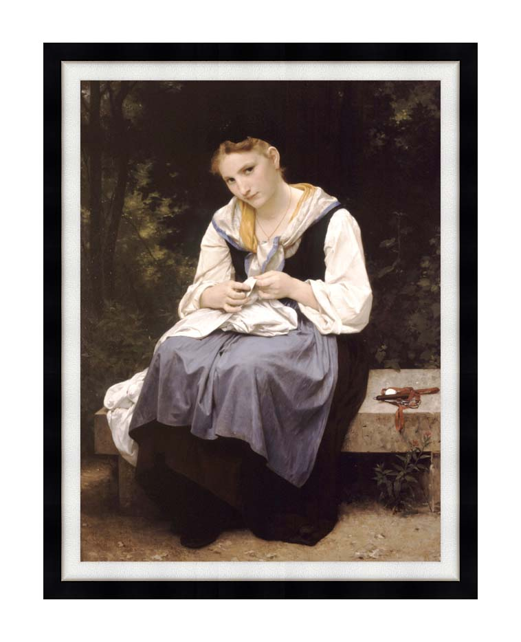 William Bouguereau Young Worker with Modern Black Frame