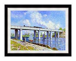 Claude Monet The Railroad Bridge Argenteuil canvas with modern black frame