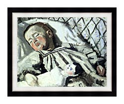 Claude Monet The Artists Son Asleep canvas with modern black frame