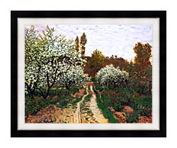 Claude Monet Flowering Apple Trees canvas with modern black frame