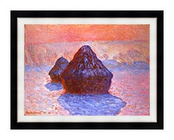 Claude Monet Haystacks Snow Effect canvas with modern black frame