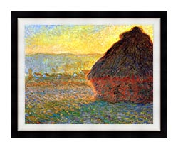 Claude Monet Haystack At Sunset Near Giverny canvas with modern black frame