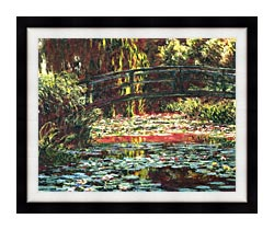 Claude Monet Japanese Foot Bridge At Giverny canvas with modern black frame
