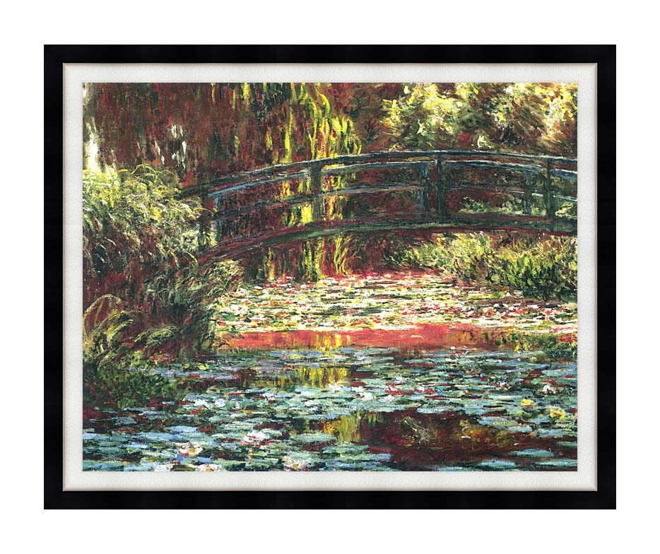 Claude Monet Japanese Foot Bridge at Giverny with Modern Black Frame