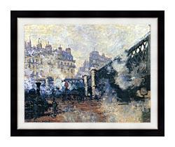 Claude Monet Le Pont De Leurope 1877 canvas with modern black frame