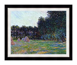 Claude Monet Meadow With Haystacks Near Giverny canvas with modern black frame