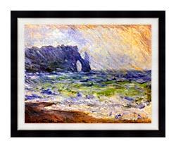 Claude Monet Rain At Etretat canvas with modern black frame