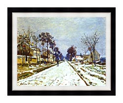 Claude Monet Road At Louveciennes Snow Effect canvas with modern black frame