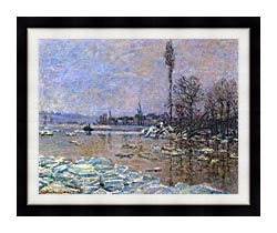 Claude Monet The Ice Floes canvas with modern black frame