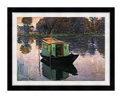 Claude Monet The Studio Boat canvas with modern black frame