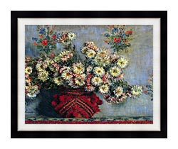 Claude Monet Vase With Chrysanthemums canvas with modern black frame