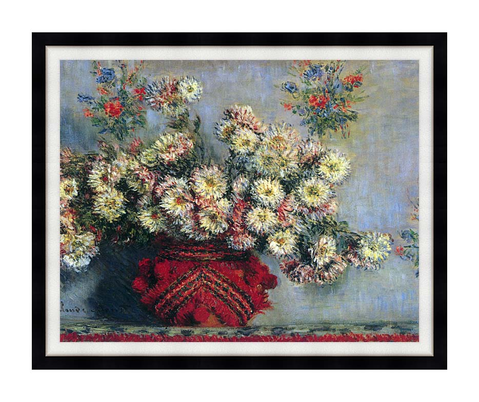 Claude Monet Vase with Chrysanthemums with Modern Black Frame