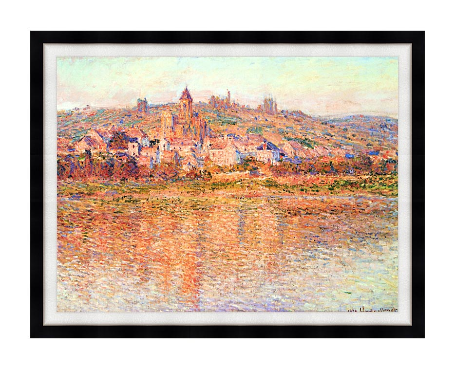 Claude Monet Vetheuil in Summertime with Modern Black Frame