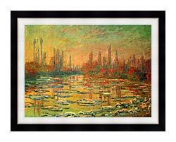 Claude Monet Floating Ice On The Seine canvas with modern black frame