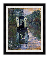 Claude Monet The Boat Studio canvas with modern black frame
