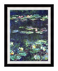Claude Monet Green Reflection Detail canvas with modern black frame