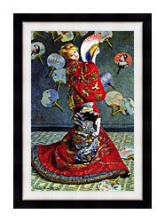 Claude Monet Madame Monet In Japanese Costume canvas with modern black frame