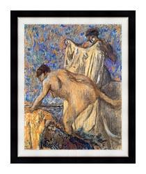 Edgar Degas After The Bath Pastel canvas with modern black frame