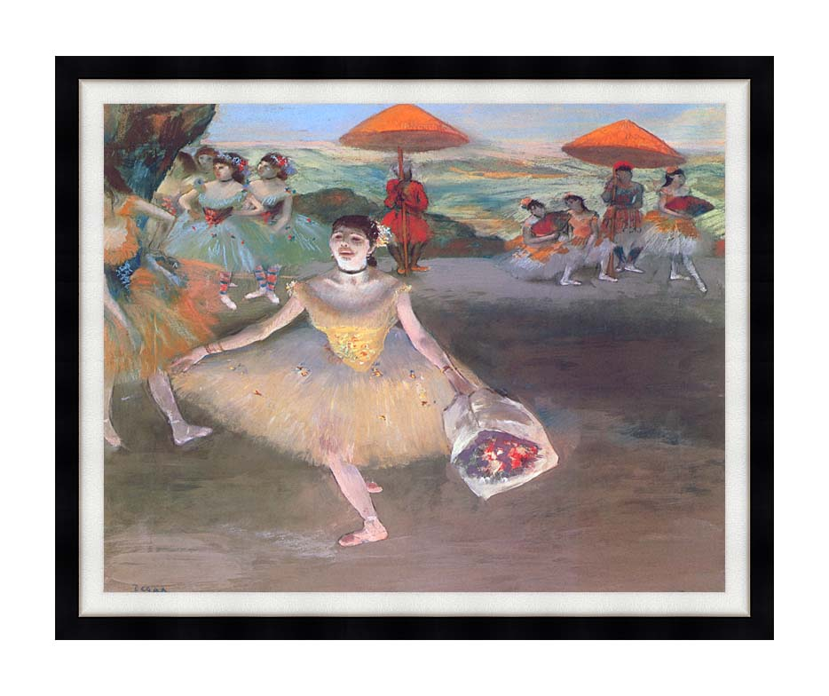 Edgar Degas Ballerina with a Bouquet of Flowers with Modern Black Frame