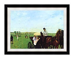Edgar Degas Carriage At The Races canvas with modern black frame
