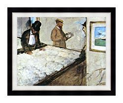 Edgar Degas Cotton Merchants canvas with modern black frame