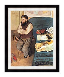 Edgar Degas Diego Martelli canvas with modern black frame