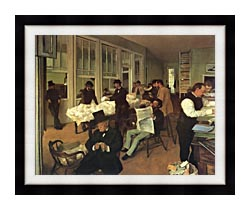 Edgar Degas Portraits In An  Office New Orleans canvas with modern black frame