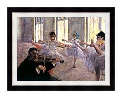 Edgar Degas Rehearsal canvas with modern black frame