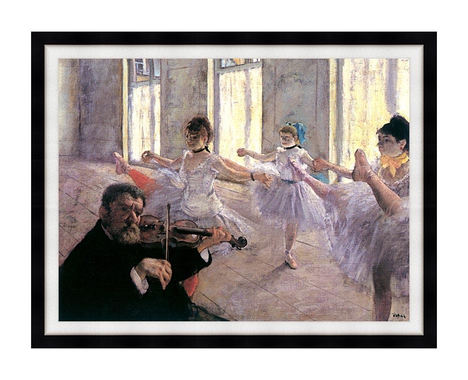 Edgar Degas Rehearsal with Modern Black Frame