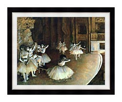 Edgar Degas Rehearsal Of A Ballet On Stage canvas with modern black frame