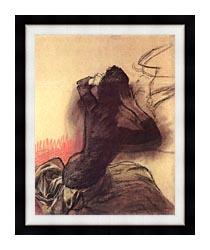 Edgar Degas Seated Woman Adjusting Her Hair canvas with modern black frame