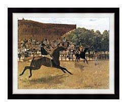 Edgar Degas The False Start canvas with modern black frame