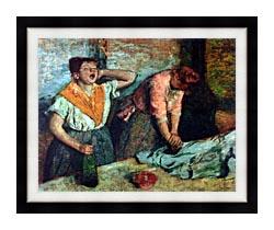 Edgar Degas The Laundresses canvas with modern black frame