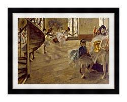 Edgar Degas The Rehearsal canvas with modern black frame