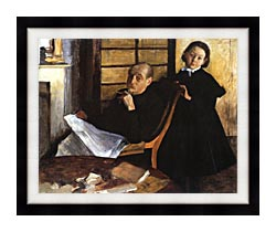 Edgar Degas Uncle And Niece canvas with modern black frame