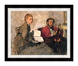 Edgar Degas Violinist And Young Woman Holding The Music canvas with modern black frame