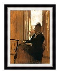Edgar Degas Woman At A Window canvas with modern black frame