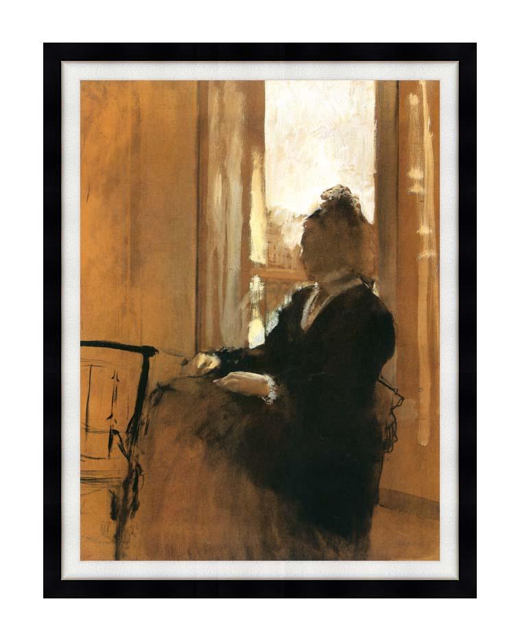 Edgar Degas Woman at a Window with Modern Black Frame