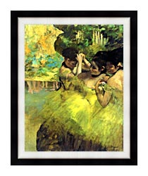 Edgar Degas Yellow Dancers In The Wings canvas with modern black frame