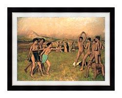 Edgar Degas Young Spartans Exercising canvas with modern black frame