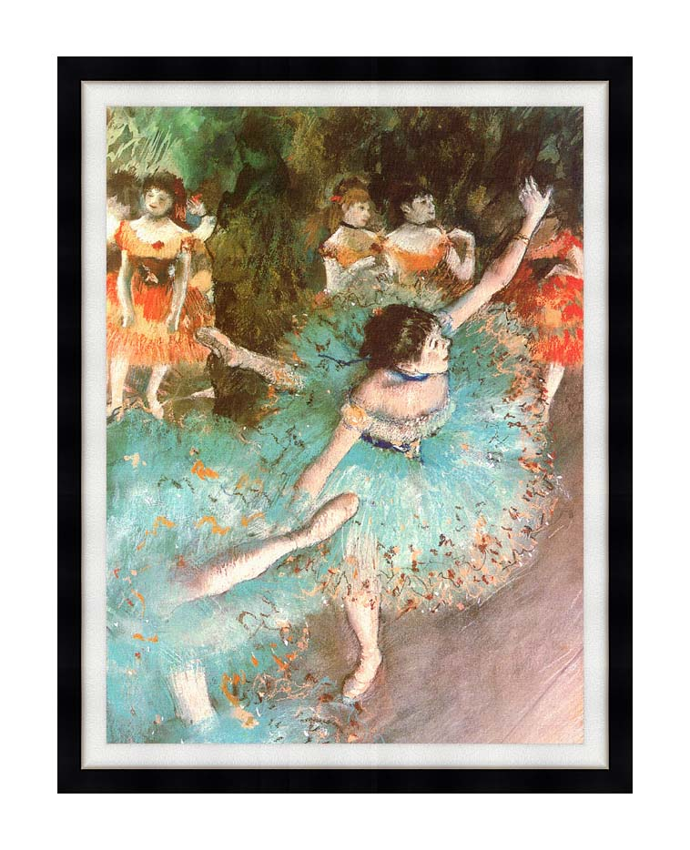 Edgar Degas The Green Dancer with Modern Black Frame