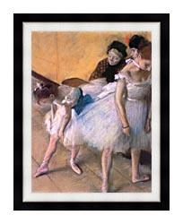 Edgar Degas Before The Rehearsal canvas with modern black frame